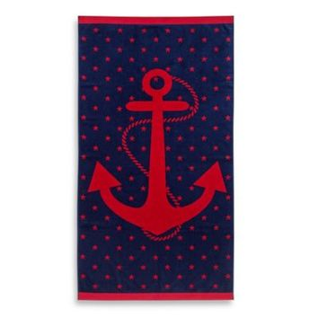 Jacquard Anchor and Star Beach Towel