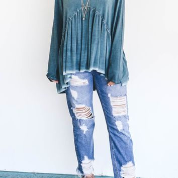 Always Here Blue High Rise Distressed Jeans
