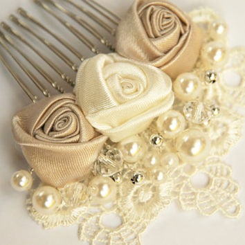 Bridal hair comb, Wedding  hair comb, Pearl hair comb, Lace hair comb,Lace wedding hair comb, Bridal headpiece, Wedding hadpiece