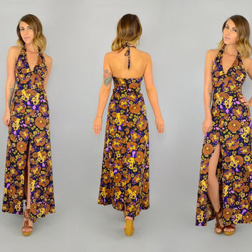 70's HIPPIE GLAM Rock Disco 'The Upper Half' flower child HALTER open back Maxi Dress, extra small-small