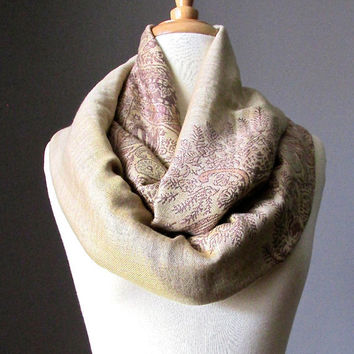 Beige and Mauve scarf, pashmina, infinity scarf, fern scarf, perfect fall scarf, Christmas gift