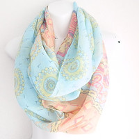 Boho Mint and Coral Infinity scarf Tribal scarf Fashion scarf infinity scarf loop scarf Paisley scarf Light weight spring scarf for women