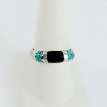 Black Onyx Turquoise Ring - Sterling Black Onyx Ring - Sterling Turquoise Ring - Size 9.25 Ring - Vintage Sterling Ring