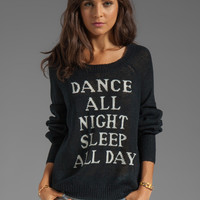 Wildfox Couture White Label Dance All Night Pfeiffer Knit in Clean Black