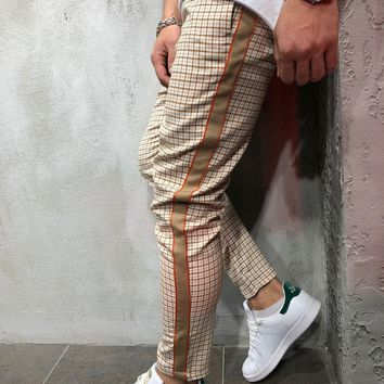 Checkered Ankle Pants with Side Stripes - Orange