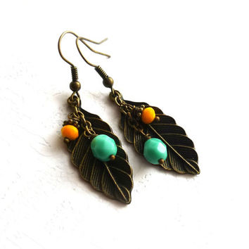 Mint and Yellow Wedding Brass Earrings, Bridesmaid Gift, Maid of Honor, Neon Weddings, Feather or Leaf Earrings, Boho Spring Summer Bride