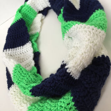 Seahawks rugby striped infinity scarf, striped crochet scarf, navy blue, neon green, white, warm and soft neckwarmer