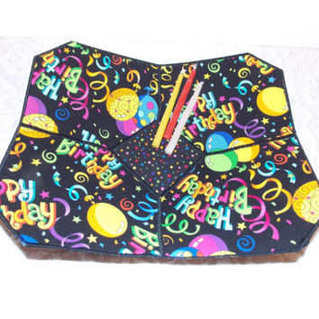 Birthday Party Fabric Bowl Balloons Confetti Yellow Black Pink Blue
