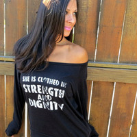Clothed in Strength and Dignity.  Eco-Heather Crop Raglan. Size XL