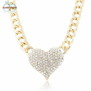 SUSENSTONE Ladies 3D Heart Pendant with a 16 Inch Adjustable Link Chain Necklace