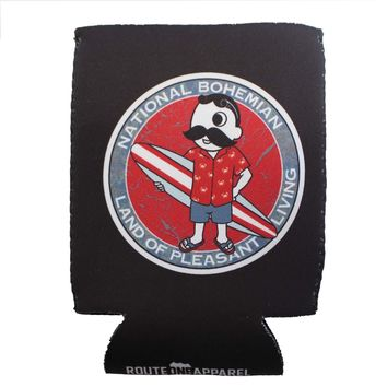 Retro National Bohemian Surfer Dude (Black) / Koozie