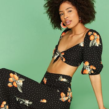 Orange Print Crop Top