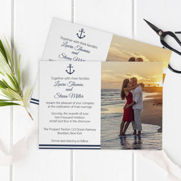 Photo Wedding Invitation Template, Nautical Printable Photo Wedding Invitate, LDS Wedding Invitation, Editable PDF Templates, DIY You Print
