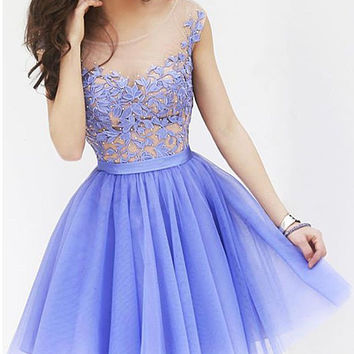 Purple Floral Lace Mini Flounce Dress