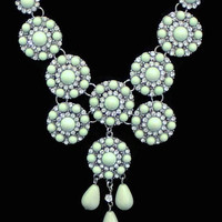 Bib Dangle Necklace With Pale Green And Clear Rhinestone Medallions