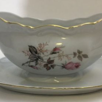 Vintage Bavaria Mitterteich Gravy Boat Pink Rose Peach Gray Black Leaves Germany