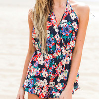 Black Floral Wrap Backless Romper Jumpsuit