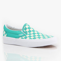 Vans Classic Slip-On Girls Skate Shoes - Aqua Green/White/Checkerboard