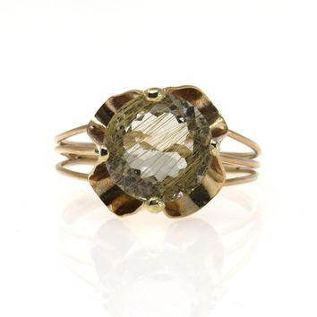 Retro Rose Gold 6 Cts Gem Rutilated Quartz Statement Ring, Retro, 1940s