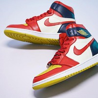 "Air Jordan 1 OG Retro 1 Basketball Shoes""College RED YELLOW BLUE WHITE""555088-600"