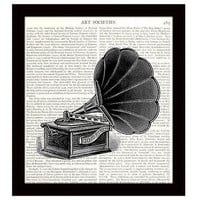 Victrola 8 x 10 Dictionary Art Print Victorian Music Player Vintage