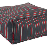 Clinton Pouf, Gray/Red Stripe, Poufs