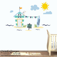 Surf shack beach wall decal, nursery decor, nursery wall decal, nautical wall decor, nursery decals, kids wall decal, childrens name decal