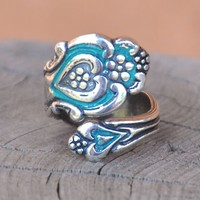 Patinaed Sterling Silver-Plated Spoon Ring