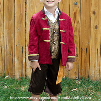 Pirate Costume Red Jacket, Vest, Pants, Sash for play, Christmas Gift or Disney adventure