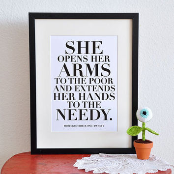 $5.00 She opens her arms Project Wisdom  Proverbs by PrintableScripture