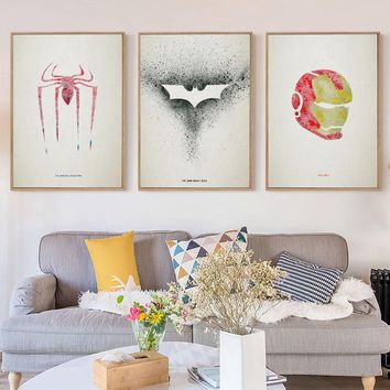 Batman Dark Knight gift Christmas 07G Splash Spiderman Batman Iron Man Symbolize A4 A3 A2 Canvas Art Painting Print Poster Picture Wall Child Room Home Decoration AT_71_6