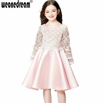 WEONEDREAM 2016 Hot Flower Girl Dresses for Weddings Long Sleeve Lace Girls Pageant Dresses First Communion Dresses for Girls