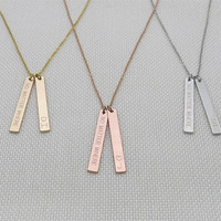 Best friend necklace,no matter where necklace,bff necklace, friendship graduation gift,engraved 2 vertical bar personalized necklace