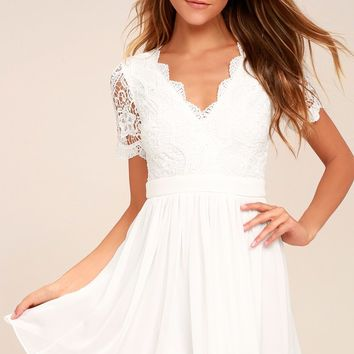 Angel in Disguise White Lace Skater Dress