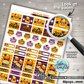 Printable Planner Stickers, Planner Stickers Halloween, Kawaii Stickers, Instant Download, Planner Accessories, Cute Stickers, Stamps, DIY