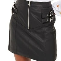 Topshop Double Buckle Faux Leather Miniskirt | Nordstrom
