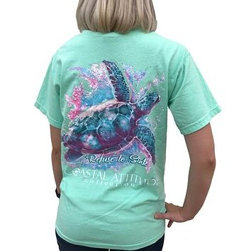 Southern Attitude Preppy Watercolor Turtle Comfort Colors Seafoam T-Shirt