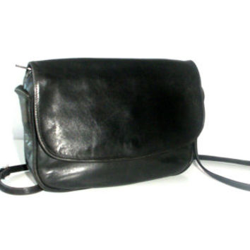 Vintage Enny leather Handbag, butter soft leather in black, Italian designer purse
