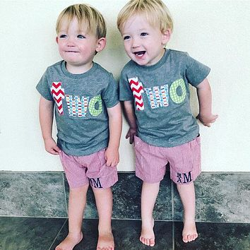 Fan Photo twins Birthday Shirt for 2 year old 2nd Birthday lowercase two with red chevron, pez and green circles