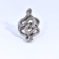 Vintage Silver Gothic Snake Serpent Stainless Steel Size 12 Ring