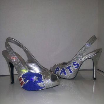 Hand Painted Swrovski Crystal New England Patriots Heels