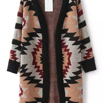 Geometric Print Long Sleeve Long Coat
