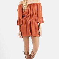 Women's Topshop Crinkly Off the Shoulder Romper,