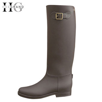 HEE GRAND Buckle Knee-High Rain Boots Platform Women Boots Casual PVC Shoes Woman Slip On Flats Shoes Woman Size 36-41 XWX4864