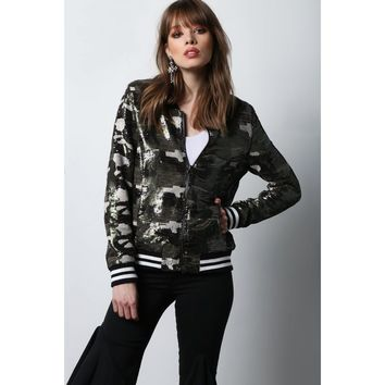 Camo Is The New Black Sequin Varsity Jacket