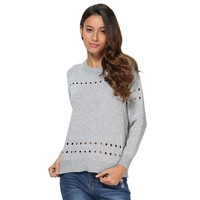 Stylish Round Collar Back Bowknot Pullover for Women