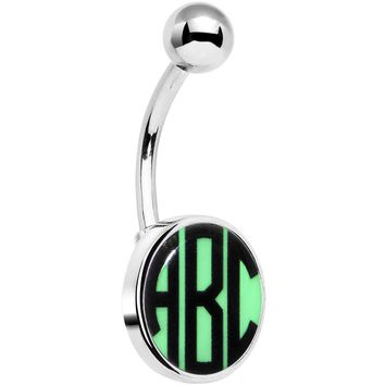 Custom Glow in the Dark Logo Personalized Initial Belly Ring