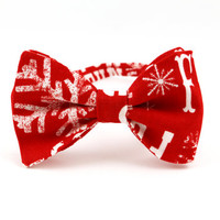 Christmas Bow Tie for Men Holiday Bow Tie Red Bow Tie Mens Bow Tie Womens Bow Tie Snowflake Gift for Men Gift for Grandpa Gift for Father