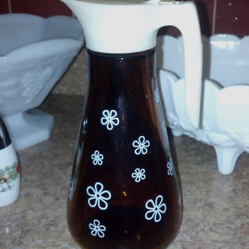 Syrup Pitcher Amber Glass with White Flowers by RCEastman on Etsy