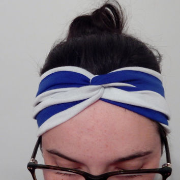 Womens knit Head Bands - Blue White Stripes